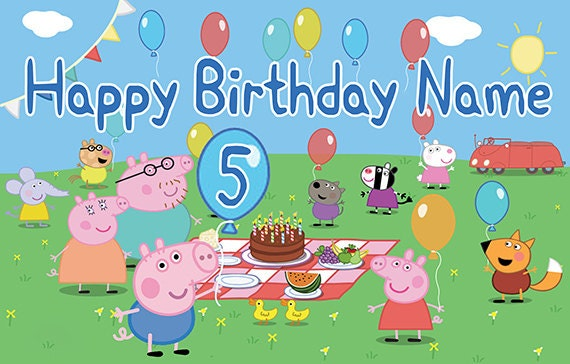 Peppa Pig Personalize Custom Printed Birthday Backdrop Banner George