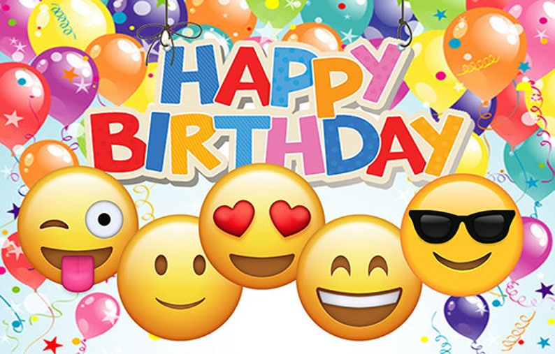 Emoji Printed Birthday Backdrop Banner  balloons image 0
