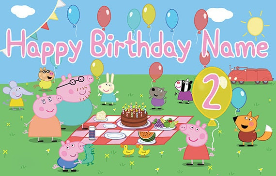 peppa pig personalize birthday banner age in peppa s etsy