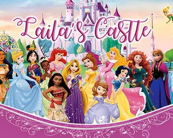 Princess Personalize Printed Birthday Backdrop Banner (Castle)
