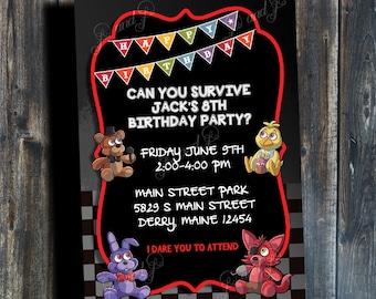 FNAF - Five Nights At Freddy's Printable Birthday Invitation