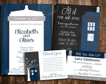 Doctor who wedding etsy doctor who tardis wedding invitation stopboris Image collections