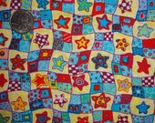 Blue Red Ivory Stars Patchwork Checks Cotton Quilting Fabric BTY by the yard