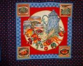 Vegetables Pitcher Farm Fresh Tomatoes Blue Cranston Cotton Fabric Panel Pillows