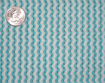 """Turquoise Blue Rick Rack Ric Rac Stripe Cotton Quilting Fabric 32"""" inches"""