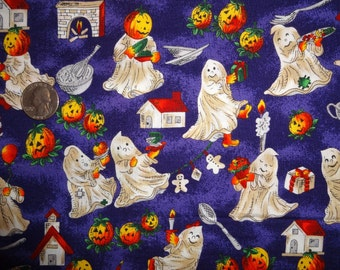 """Halloween Hi-Fashion Pumpkins Ghosts Purple Cotton Quilting fabric 33"""" inches only"""