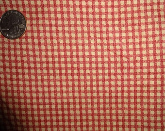 """Rustic Homespun Check Tan Red Cranston Quilting Cotton Fabric 1 yard + 30"""" inches"""