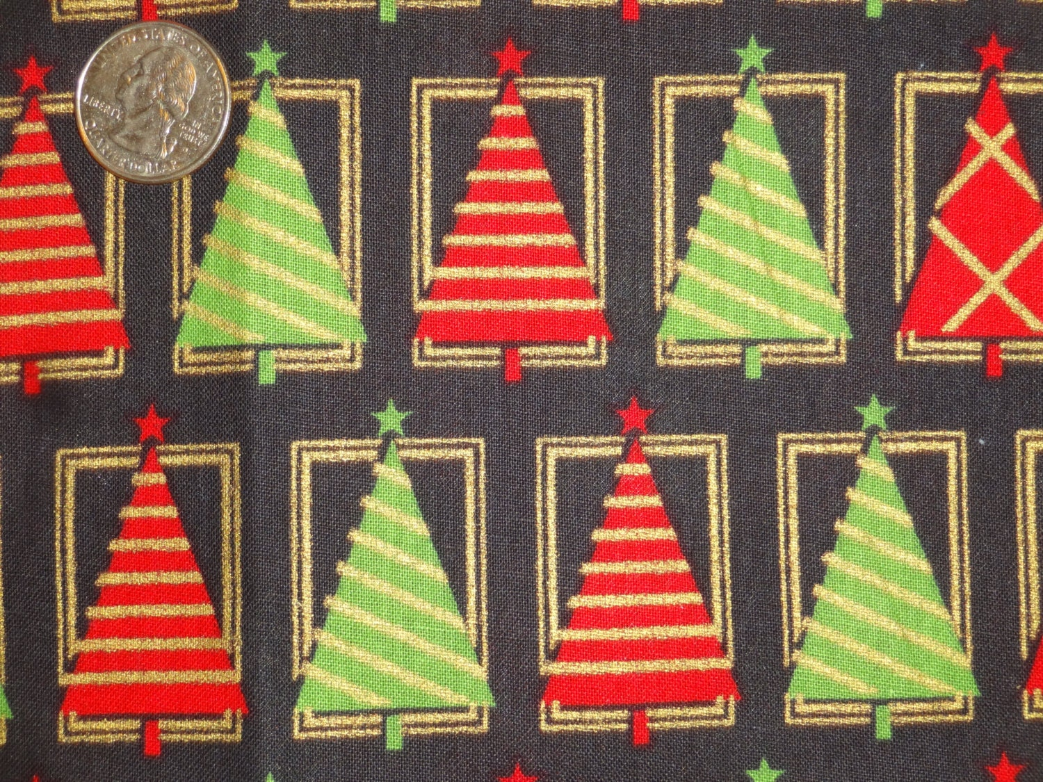 christmas black red gold green trees joann cotton quilt fabric one yard only - Joann Fabrics Christmas Decorations
