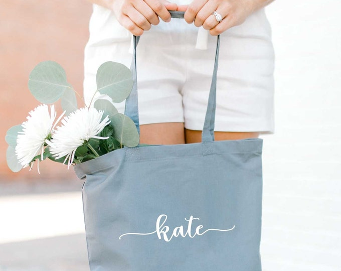 Personalized Bridesmaid Tote Bag - GRAY - Bridal Tote Bag - Canvas Bag - Custom Tote - Quote Tote Bag - NEW - Font 1