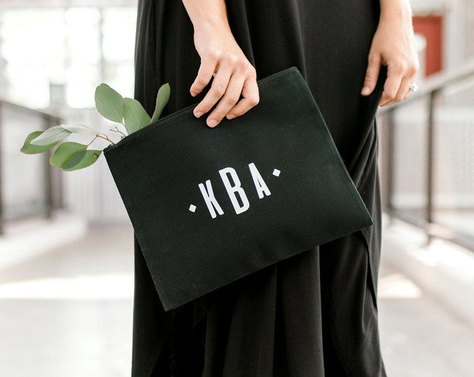 Personalized Clutch - Black - Monogram