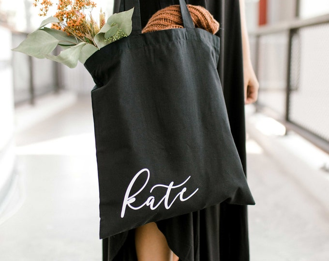 Personalized Canvas Tote - Black - Font 5