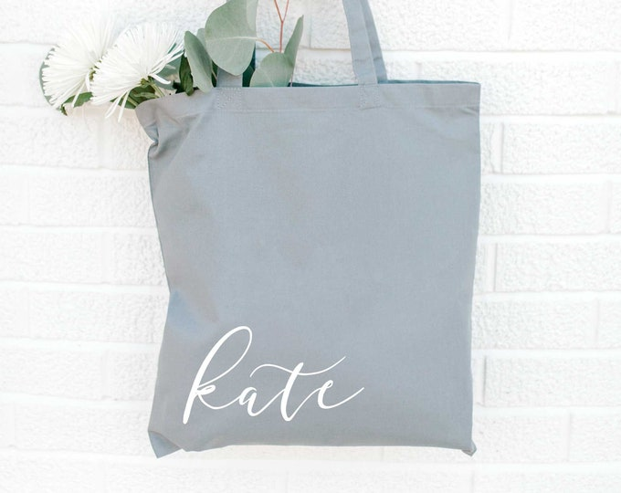 Personalized Bridesmaid Tote Bag - GRAY - Bridal Tote Bag - Canvas Bag - Custom Tote - Quote Tote Bag - NEW - Font 5