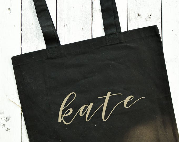 Personalized Canvas Tote - Black - Font 2