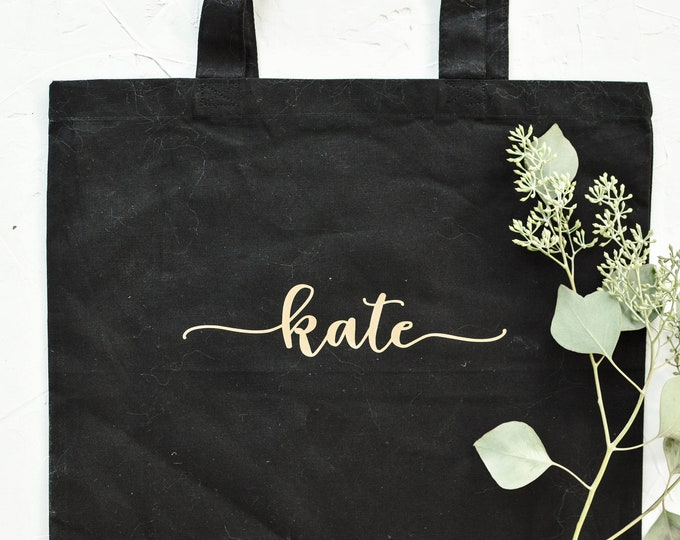 Personalized Canvas Tote - Black - Font 1