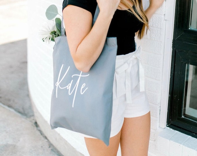 Personalized Canvas Tote - Gray - Font 6