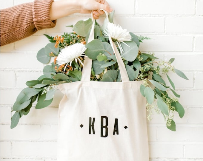 Personalized Canvas Tote - Monogram