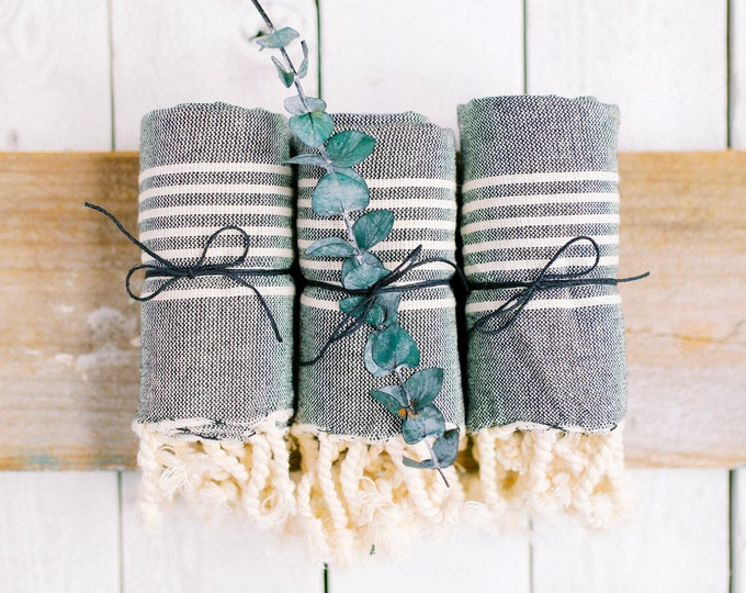 Turkish Towels - Set of 3 - Striped Hand Towels