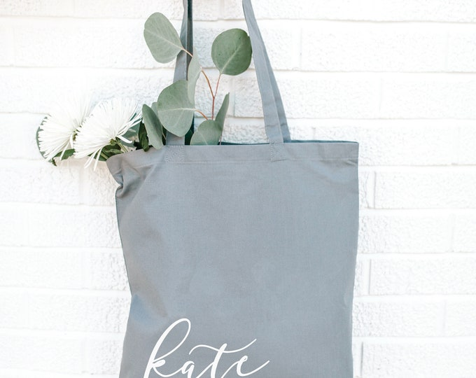 Personalized Bridesmaid Tote Bag - GRAY - Bridal Tote Bag - Canvas Bag - Custom Tote - Quote Tote Bag - NEW - Font 5