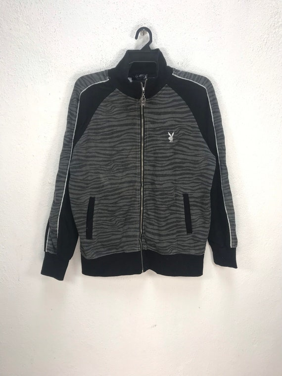 PLAYBOY TIGER STRIPE Big Logo Designer Popculture Zipper Sweater