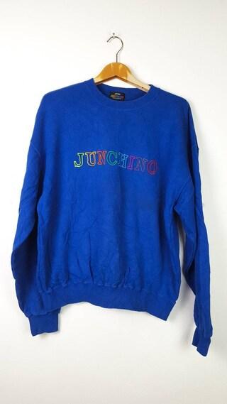 Vintage JUNCHINO By Junko Koshino Japanese Brand Spellout Big Logo Streetwear Sweatshirt Size L