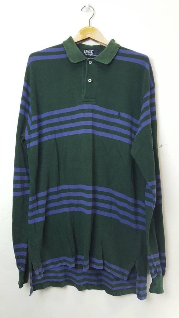 Polo Ralph Lauren petit poney rayures polo manches longues chemise c0da91321fee
