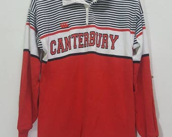 Vintage Canterbury of New Zealand ugly stripes rugby polo shirt