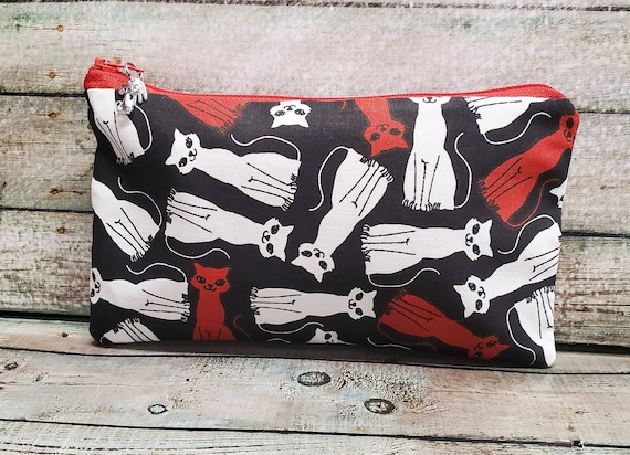 FREE Standard Shipping Ready to Ship Cats Fabric Coin Purse  Small Zipper Pouch
