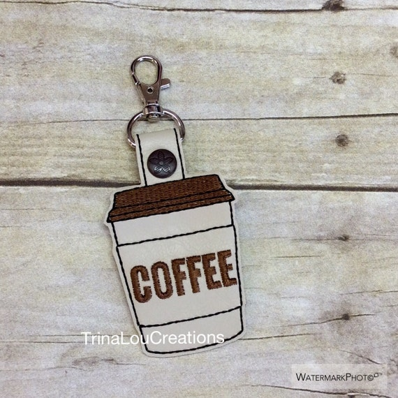 Coffee key fob made of vinyl