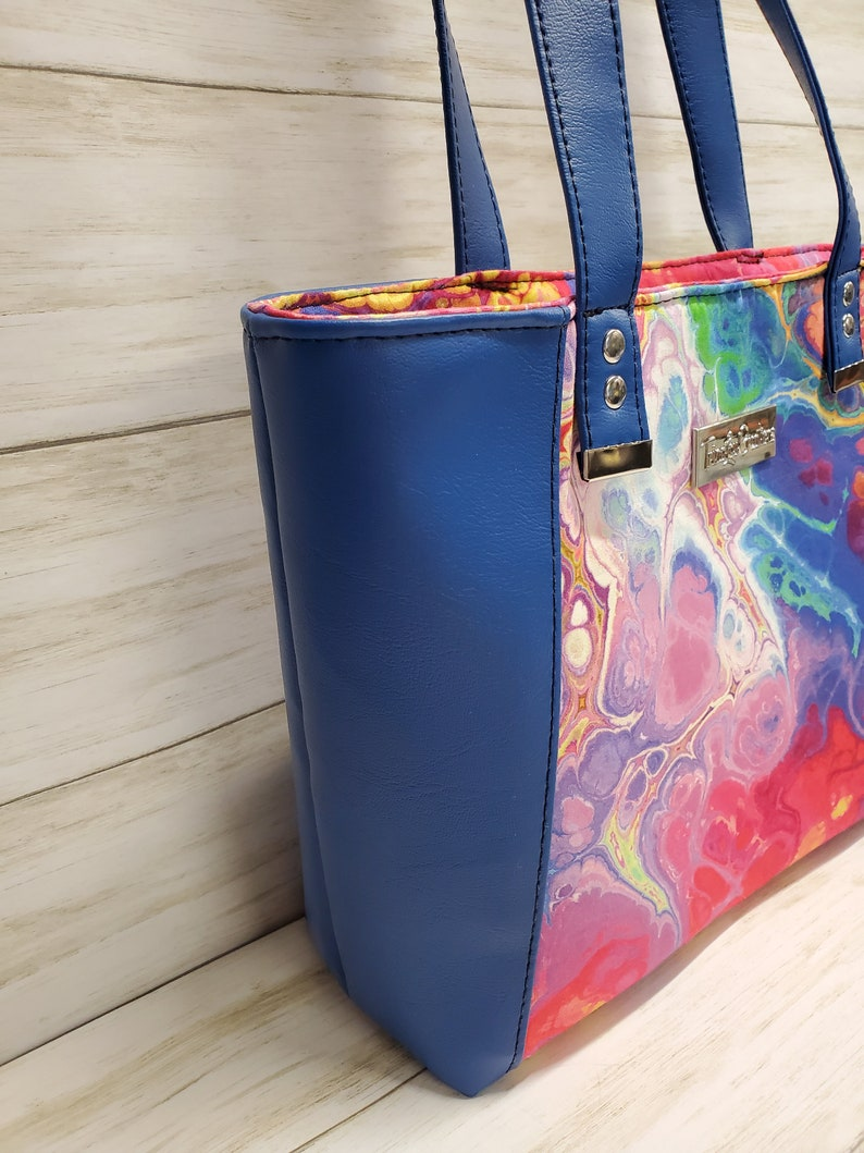 Market Tote Blue Tote Bag Large Purse Large Shoulder Bag Summer Hand Bag Faux Leather Tote Carry All Tote Every Day Tote Bag