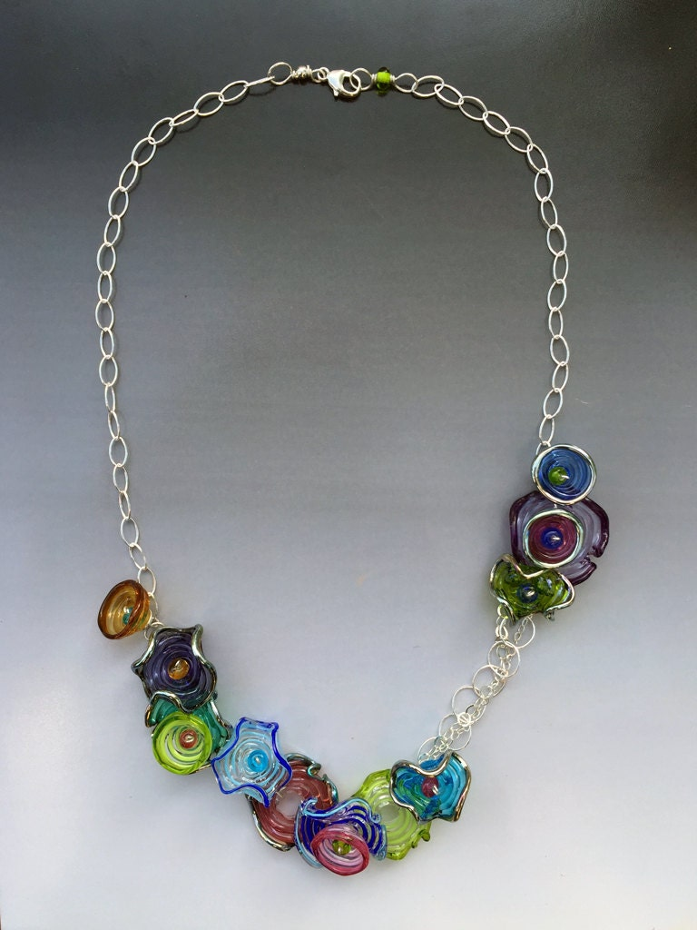 Octopus' Garden Necklace: Handmade Glass Lampwork Beads
