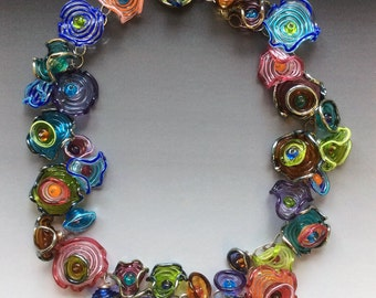 Octopus' Garden Necklace: handmade glass lampwork beads with sterling silver components - Multicolor