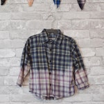 2T vintage gray, blue and yellow bleached flannel
