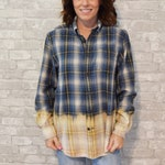 Medium blue, yellow and white vintage flannel