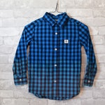 Childs 7 vintage blue and navy bleached button up