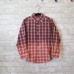 Childs 5 vintage red, black and white bleached button up