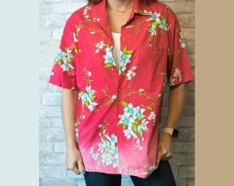 Medium vintage pink floral Hawaiian shirt