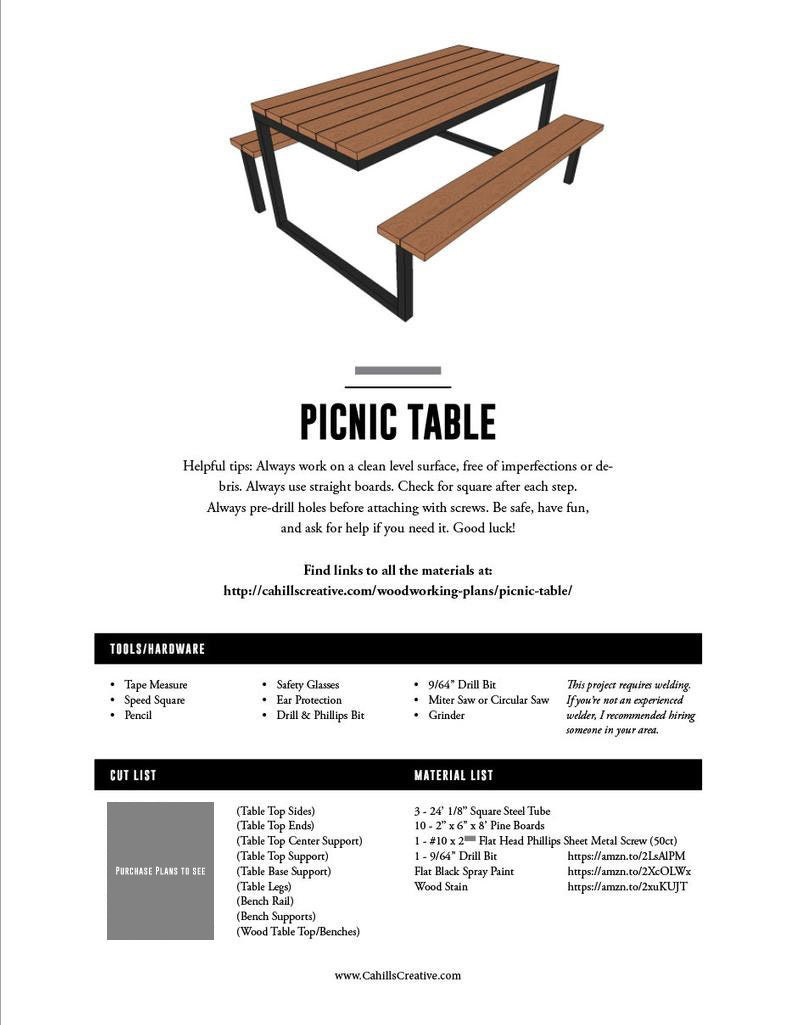 Tremendous Diy Modern Industrial Picnic Table Plans 6Ft Steel And Wood Outdoor Table Diy Plans Woodworking Plans Industrial Furniture Rustic Beutiful Home Inspiration Aditmahrainfo