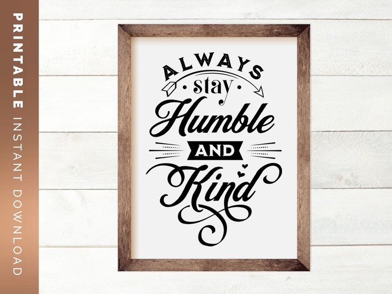 image relating to Printable Farmhouse Signs known as Humble and Variety Estimate Printable Farmhouse Decor, Rustic Wall Artwork, Typography Wall Artwork, Do-it-yourself Indication, Printable Wall Artwork, Inspirational Indication