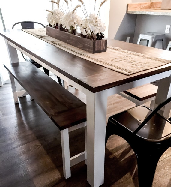 Diy Farmhouse Table Plans With Benches Woodworking Plans Diy Furniture Diy Plans Dining Room Furniture Farmhouse Furniture Rustic