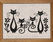 Get 30 off when you buy two or more Cross Stitch Pattern PDF Chart Instant Download Love Cats HAPPY FAMILY Cat Family Gift