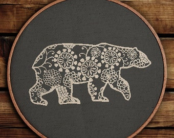 Get 30% off / Cross Stitch Pattern / PDF Chart Instant Download / Silhouette of a Polar Bear / FREE Shipping /FLORAL Polar Bear Decor
