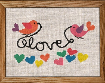 Get 30% off when you buy two or more patterns / Cross Stitch Pattern / PDF Chart Instant Download / Love Birds / Colorful  HEARTS