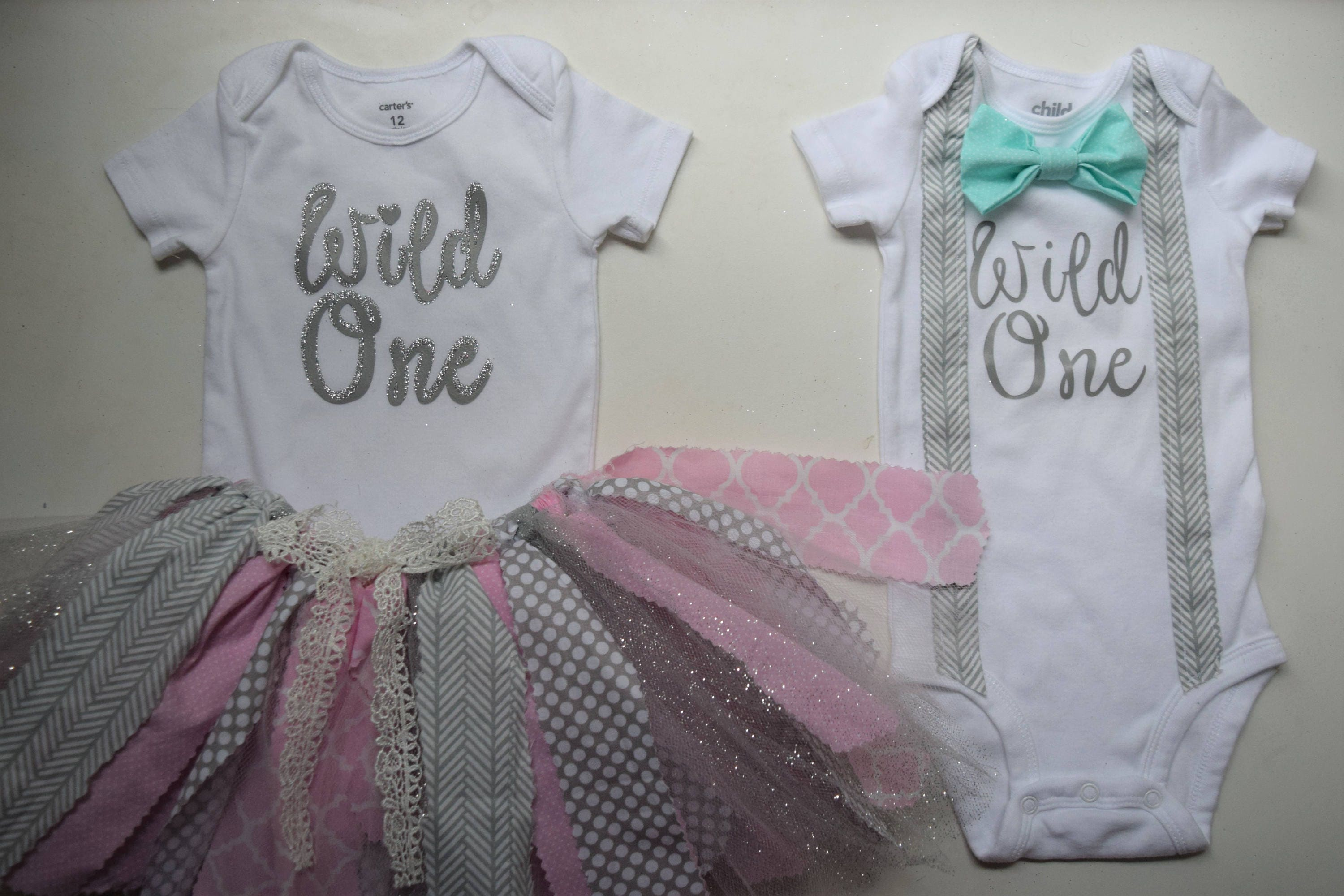 6e77415cd Boy and Girl Twin first birthday outfits.Twin first   Etsy