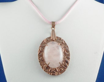 Natural Rose Quartz and Copper Pendant with Cord