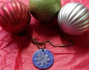 Bronze Snowflake Charm Necklace with Vintaj Patina