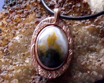 Bezel Set Moss Agate and Copper Metal Clay Pendant