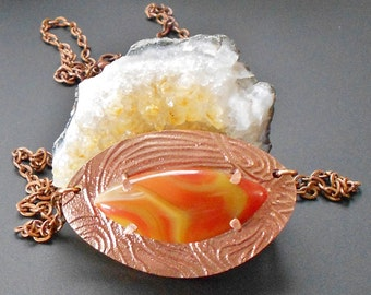 Copper Metal Clay Statement Pendant with a Natural Galah Creek Agate