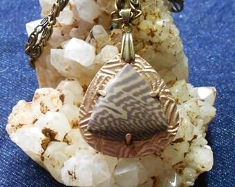 Trillion Jasper With Bronze Metal Clay Pendant
