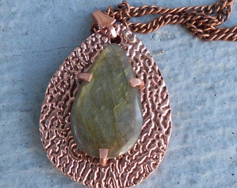 Teardrop Shaped Copper Pendant with Natural Green Flash Labradorite and Chain