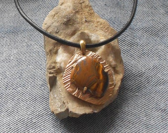 Irregularly Shaped Bronze Metal Clay Pendant With Tiger Iron